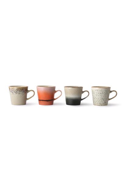 ceramic 70's americano mugs, set of 4