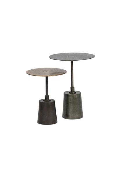 Set v 2 - crush bijzettafels metaal antique brass/zilver