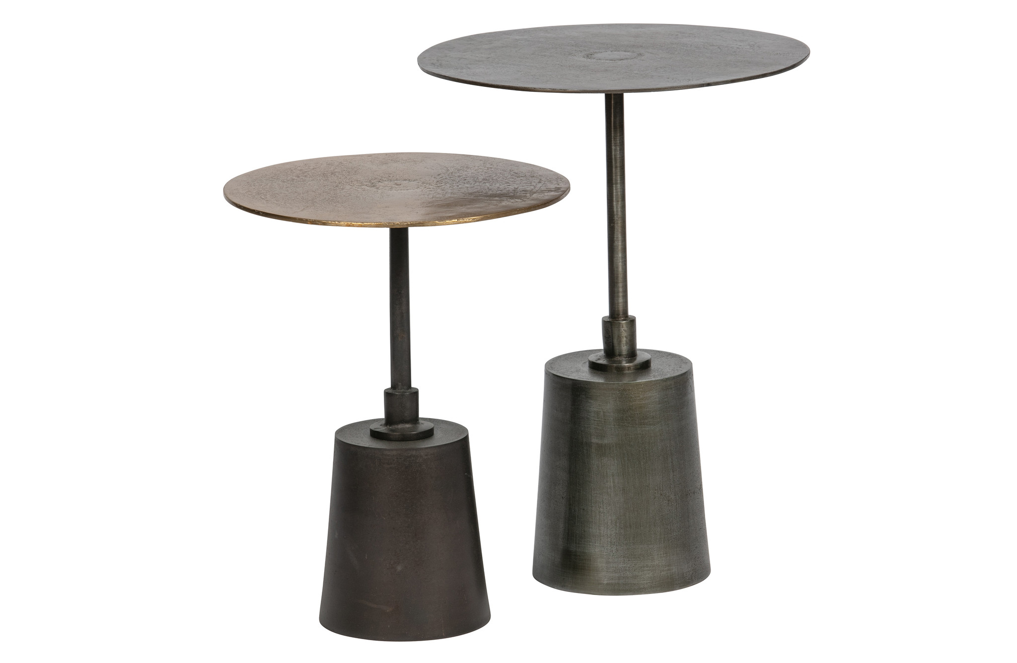 Set v 2 - crush bijzettafels metaal antique brass/zilver-1