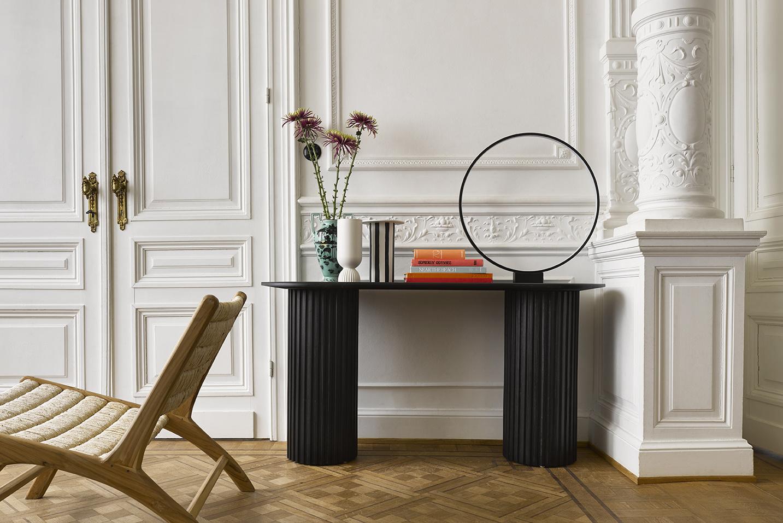 Ceramic vase black/white striped-3