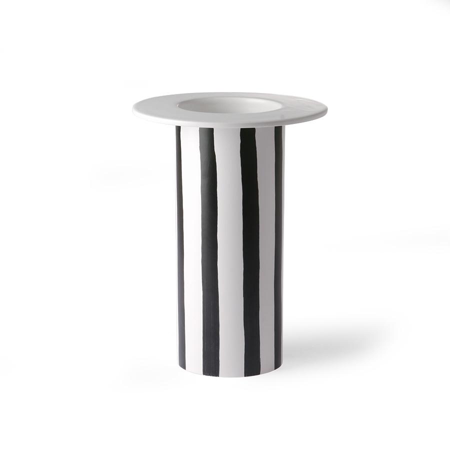 Ceramic vase black/white striped-2