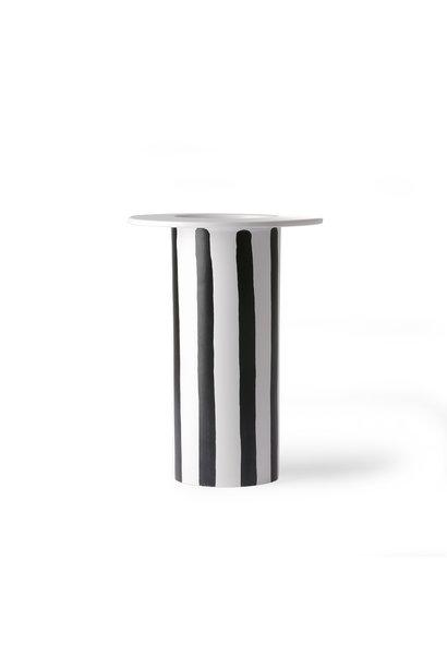 Ceramic vase black/white striped