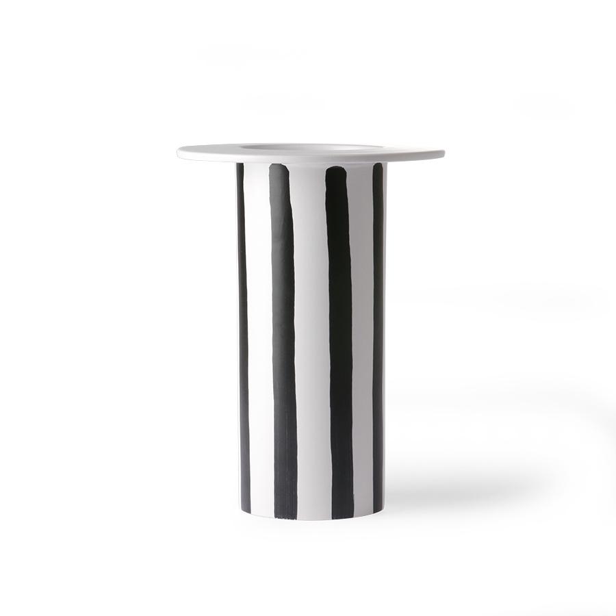 Ceramic vase black/white striped-1