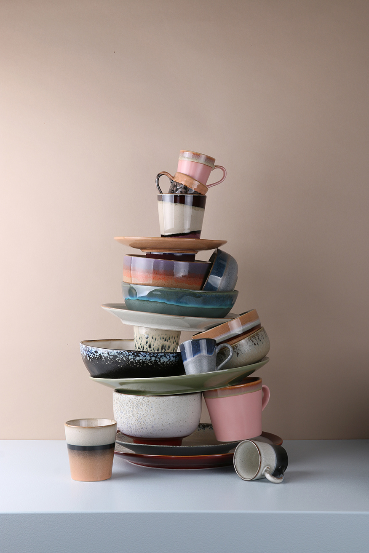 Ceramic 70's cappuccino mug pink-4