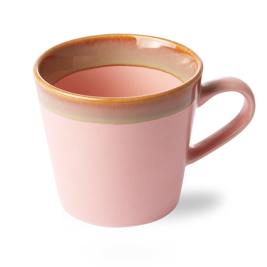 Ceramic 70's cappuccino mug pink-2