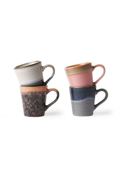 Ceramic 70's espresso mugs set of 4