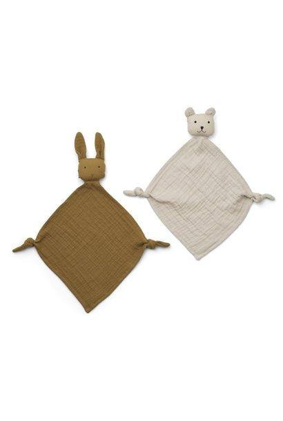 Yoko mini cuddle cloth 2-pack olive-green/sandymix