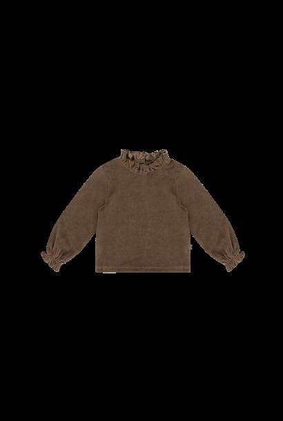 frill collar jumper, smoked choco velvet