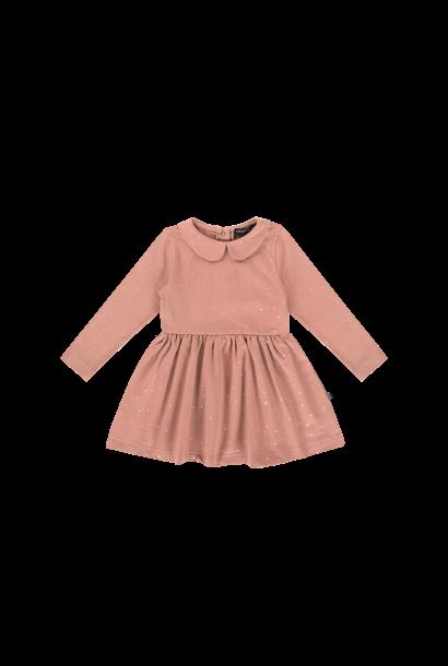 mid waist collar dress, dusty mauve golden dots