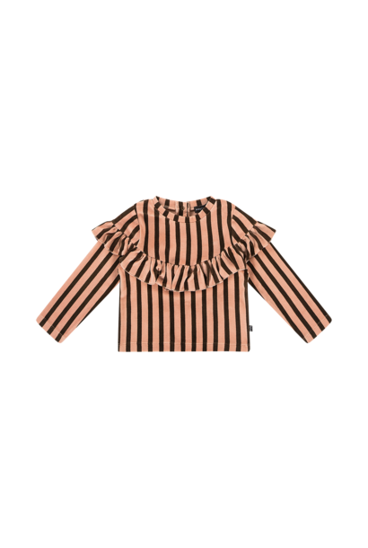 volant sweater, blush & choco stripes velvet