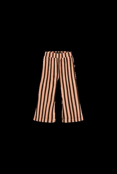 flared pants, blush & choco stripes velvet