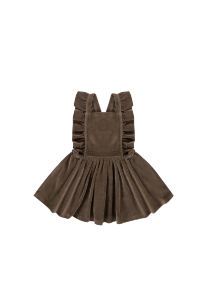 Ruffled salopette dress, smoked choco