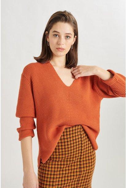 Pullover Oranje  V-hals - 40712B