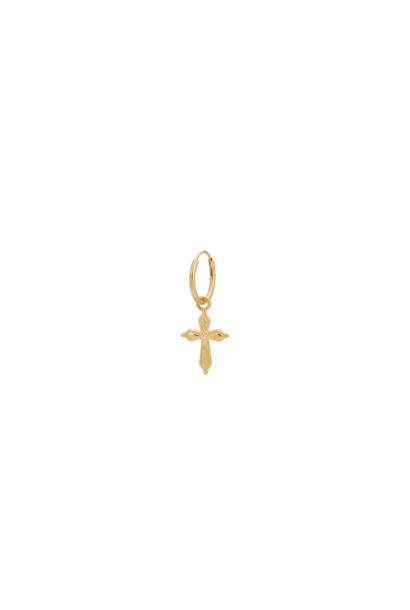 single madonna cross ring earrings, silver goldplated