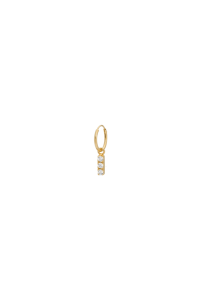 Single zirconia string ring earring, white silver goldplated