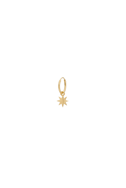 Single nova ring earring, silver goldplated