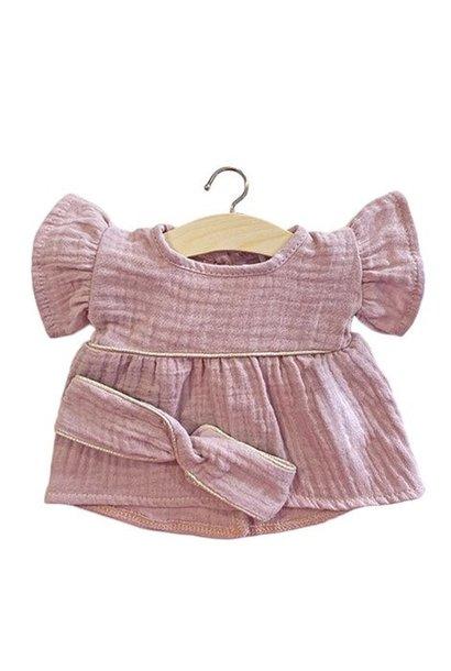 poppenset, roze, jurkje & haarband