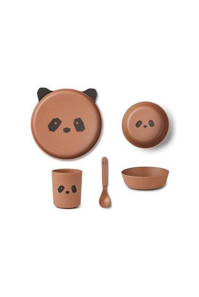 Bamboo box set, panda, Tuscany rose
