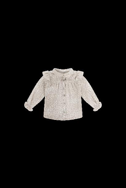 Frill blouse - Leopard Cream