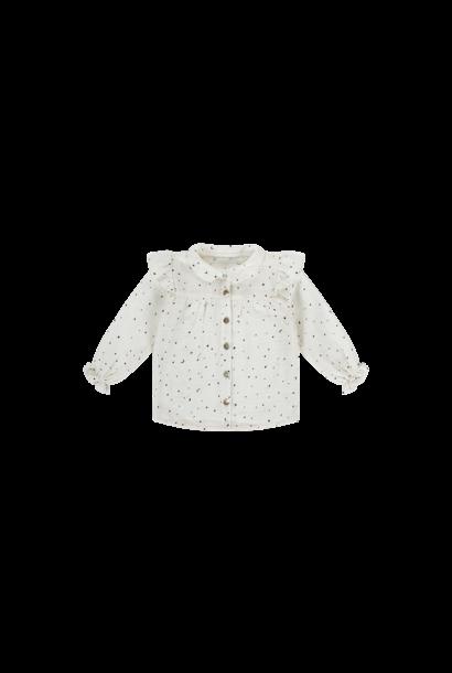 Frill blouse little stars - Cream