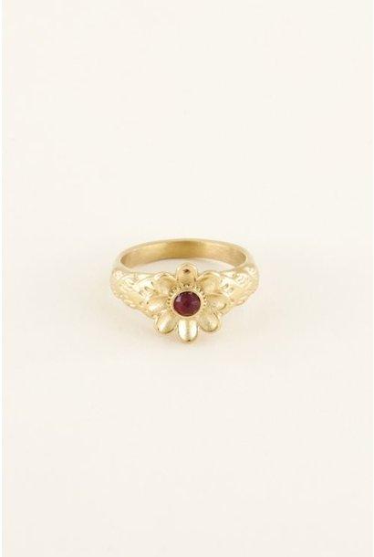 Ring bloem met steen, goud