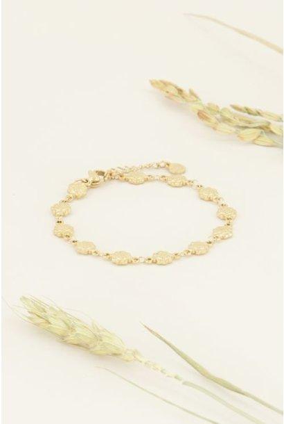 Armband bloemetjes, goud