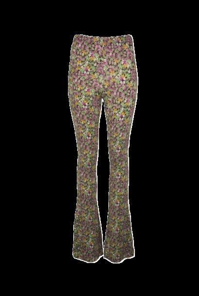 Flared bloemenprint paars-groen