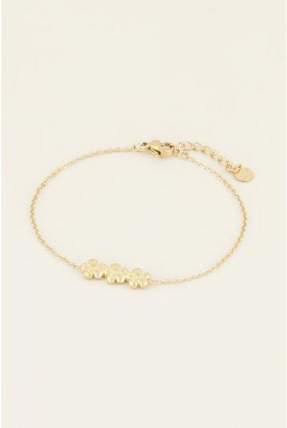 Armband drie bloemetjes - Goud
