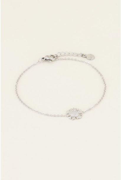 Armband daisy, zilver