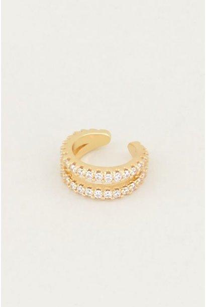 Ear cuff dubbele ring strass - goud
