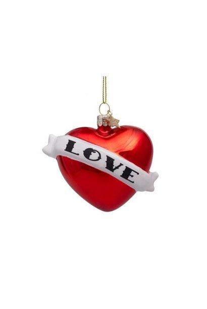 Glazen kerstbal rood hart
