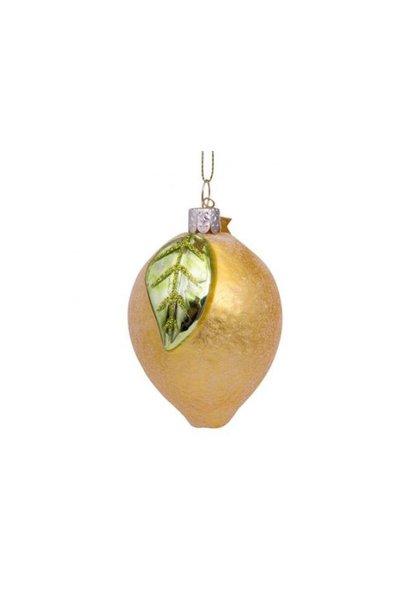 Glazen kerstbal gele citroen