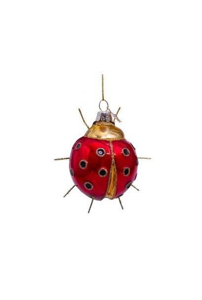 Glazen kerstbal rood/goud lieveheersbeestje