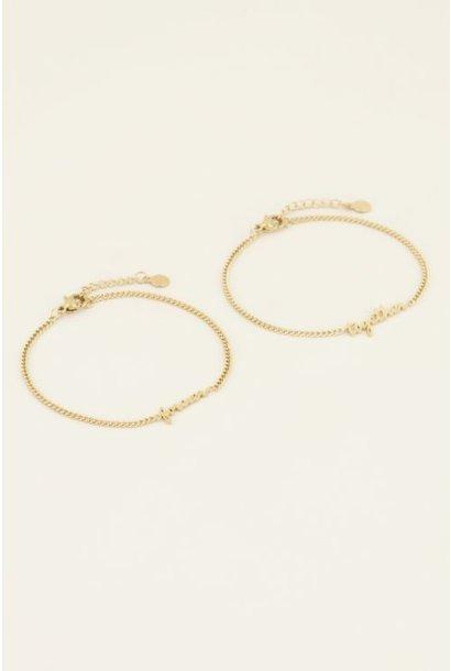 Forever together armband set, Goud