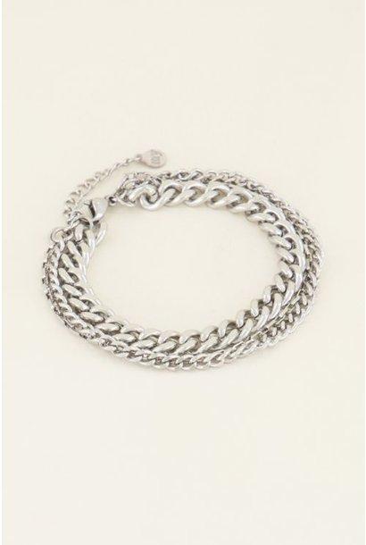 driedubbele schakelarmband, Zilver