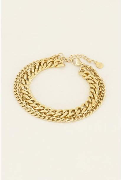driedubbele schakelarmband, Goud