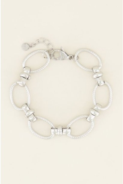 Armband grove ovale schakels, Zilver