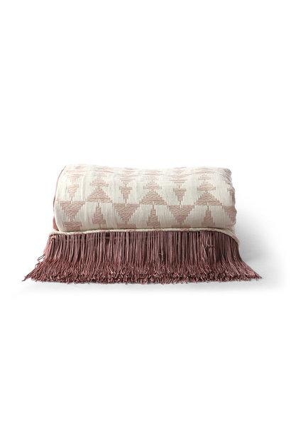 Jacquard weave throw white/nude 130x170cm