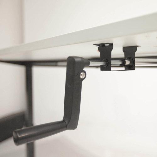 Dextro zit-sta bureau met slinger met wit onderstel