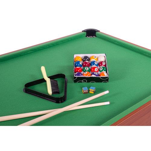 Pooltafel in 5,5 ft uitvoering met blauwkleurig laken en droppockets.