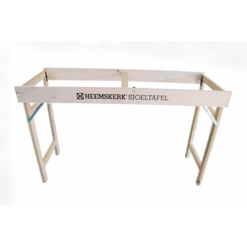 Heemskerk Sjoeltafel. Universele sjoeltafel, die gebruikt kan worden als onderstel voor alle merken, bij gebrek aan een gewone tafel.