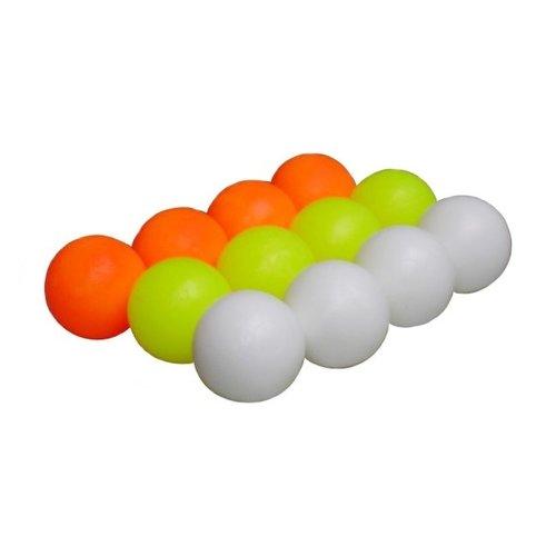 Tafelvoetbal balletjes voor tafelvoetbalspel. Massief polyether balletjes met een doorsnede van 35 mm, waardoor geschikt voor alle voetbaltafels. Verkrijgbaar per set (4x wit, 4x geel en 4x oranje).