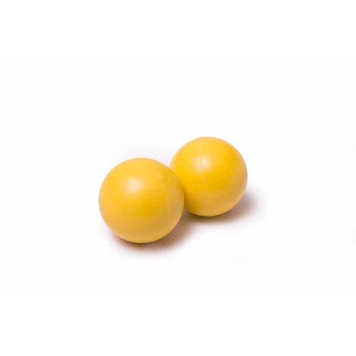 Voetbal balletjes polyethylene, kleur geel. Doorsnede 35 mm. 65 gr. Verkrijgbaar per set van 10, geschikt voor alle merken voetbaltafels.