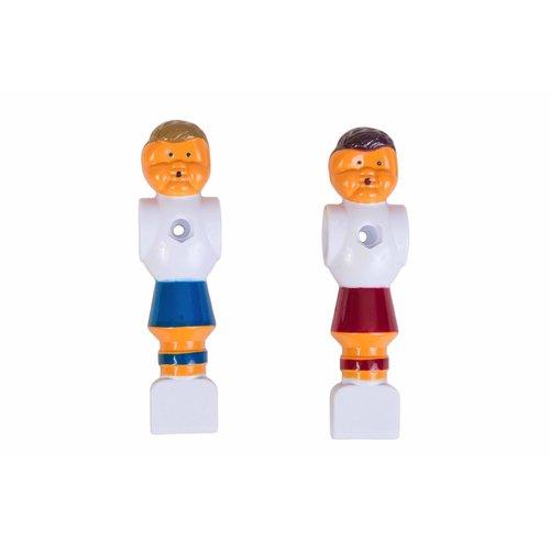 Rode en blauwe voetbalpoppen voor alle voetbaltafels met stangen van 16 mm.