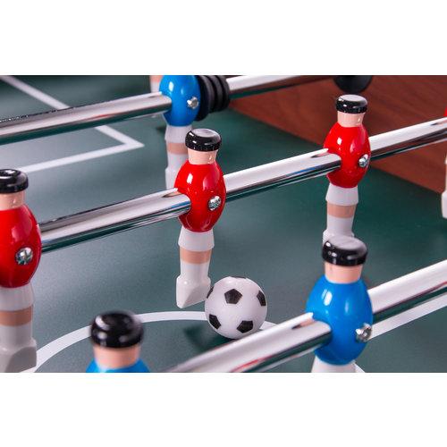 Heemskerk Houtkleurig voetbaltafel, met groen speelveld (schuin oplopende hoeken voor optimaal speelplezier).