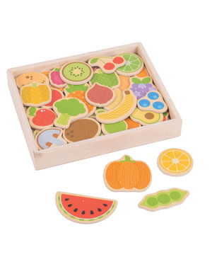 Bigjigs Toys Houten Magneten 'Groenten en Fruit'
