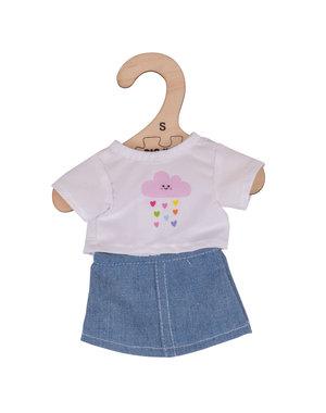 Bigjigs Toys Kleding voor lappenpop 'Wit T-shirt en Spijkerrokje'