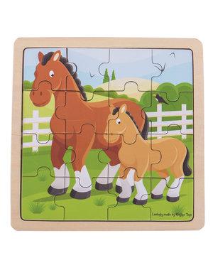 Bigjigs Toys Houten Puzzel 'Paard en Veulen' (16st.)