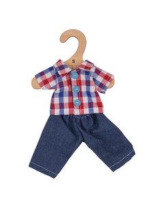 Bigjigs Toys Kleding voor lappenpop 'Geruite blouse en jeans' (Small)
