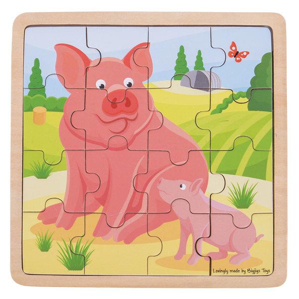 Bigjigs Toys Houten Puzzel 'Varken met Biggetje' (16st.)